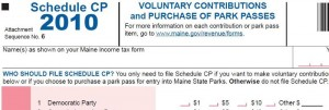 Schedule CP, Maine Income Tax form